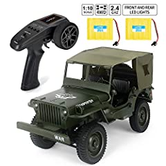 【Function】 Move forward/backward , turning left/right, High and Low speed, Front and rear LED lights , Four-wheel drive, simulating the original car spring suspension. 【Racing experience】2.4GHz RC transmitter provides farther RC distance and more acc...