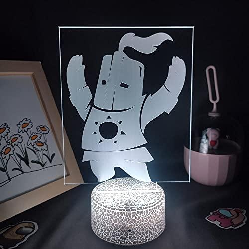 Lámpara de ilusión 3D Mood Led Luz de noche Dark Souls Figura de juego Solaire Astora Rgb para la decoración de la habitación de un amigo-Base de lava con control remoto