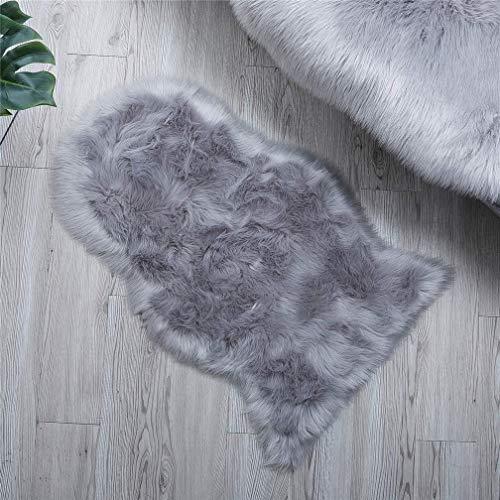 ZCZUOX Faux Schaffell Teppich, Faux Lammfell-Teppich Lang Kunstfell Schaffell Imitat Faux Bett-Vorleger Oder Matte für Stuhl Sofa for Wohnzimmer Schlafzimmer (Grau, 50x80cm)