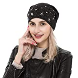 REEMONDE Wool Stylish Beanie Hat Stretchy Soft Slouchy Skull Cap Unisex Knit with Gold Threads (Black)