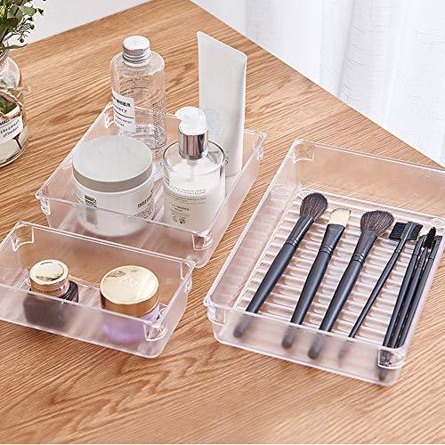 Kootek 12 Pcs Plastic Drawer Organizers Set 3-Size Versatile Desk and Bathroom Drawer Organizer Trays Storage Bins for Makeup Bedroom Kitchen Office (Clear)