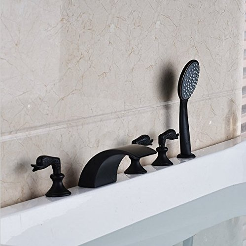 Gowe Luxe lumière LED Feck monté Cascade Baignoire robinet Ensemble de Largement huilé Noir Tub mixage Couleur : Style 2