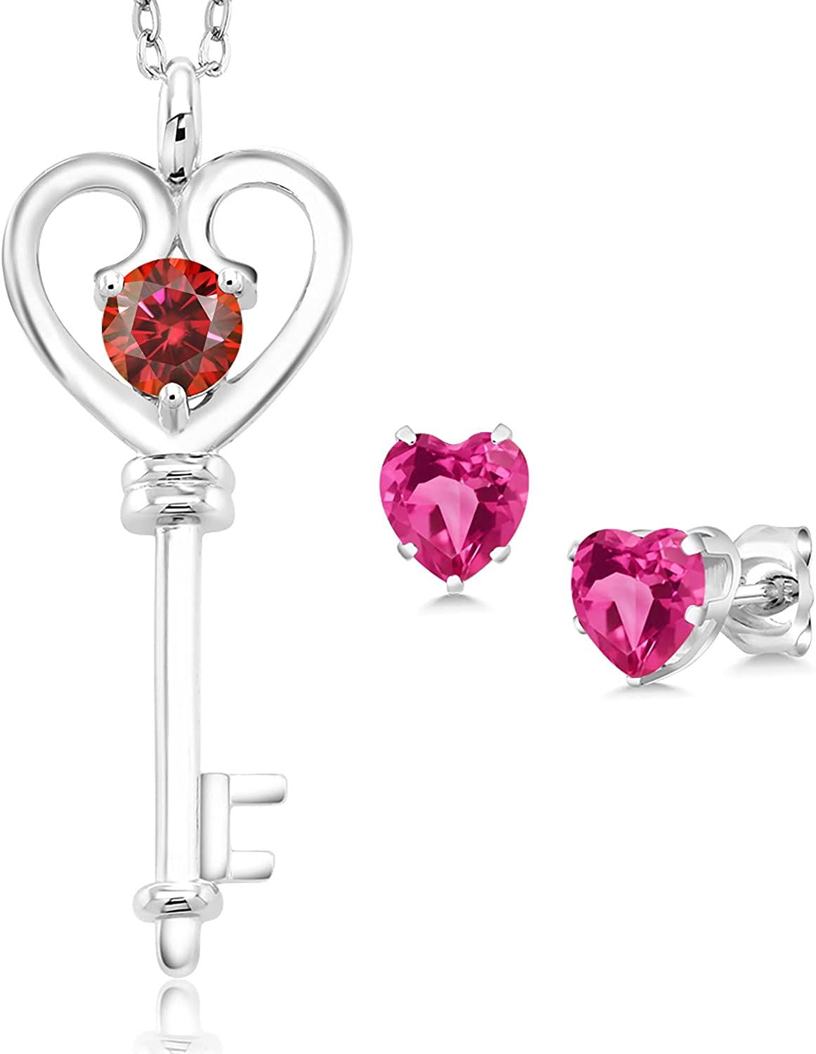 Max 85% OFF 925 5 ☆ very popular Sterling Silver Pink Created Sapphire with Chain Ear Pendant