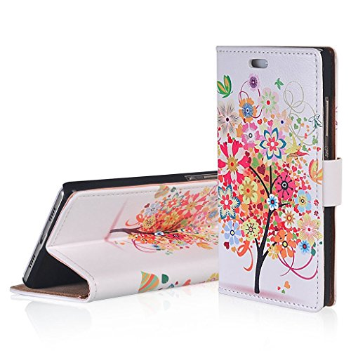 WindCase Klappetui Brieftasche PU Leder Schutzhülle für Alcatel OneTouch Pop Up OT6044 Hülle Roter Baum Muster PU Ledertasche Case mit Standfunktion Kartenfächer