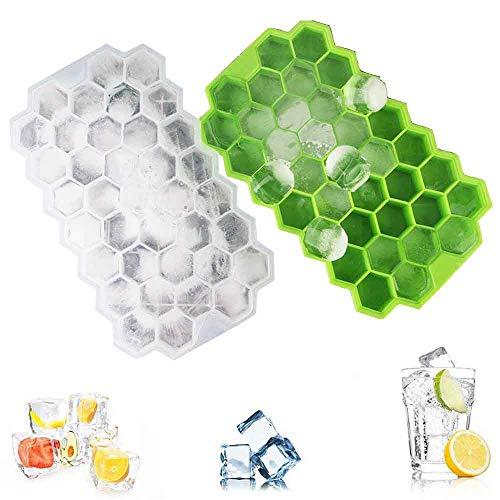 Bainser 2 Stück Silikon Eiswürfelformer 37-Fach Eiswürfelform mit Deckel Eiswürfelbehälter Eiswürfel Eiswürfelbox,Ice Cube Kühl Aufbewahren, Grün und Weiss