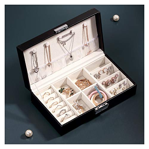 Pequeña caja de joyería portátil, para pulseras, pendientes, anillos, collares, joyas de viaje de piel sintética, caja de almacenamiento, regalo para novia, ella, niña, esposa, madre, mujeres Organiza