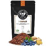 Edward Fields Tea ® - Rooibos orgánico a granel con Jengibre y Arándanos. Rooibos bio recolectado a mano con ingredientes y aromas naturales, 100 gramos, Sudáfrica.
