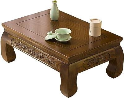 Coffee Tables Zen Tea Ceremony Table Tatami Tea Table Balcony Bay Window Table Antique Carved Coffee Table Office Coffee Table (Color : A, Size : 50 * 40 * 25cm)
