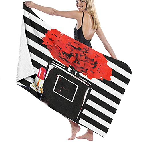 Microfiber Quick Drying Beach Towel,A Large Black Perfume Bottle And Lipstick, Soft Lightweight Towel for Camping Travel Beach Swim Yoga Gym 52'x 32'