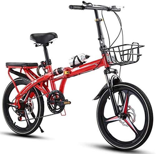 20 Pulgadas Bicicleta Bici Ciudad Plegables Adulto Hombre Mujer, Bicicleta de Montaña Btt MTB Ligero Folding Mountain City Bike Doble Suspension Bicicleta Urbana Portátil, H091ZJ