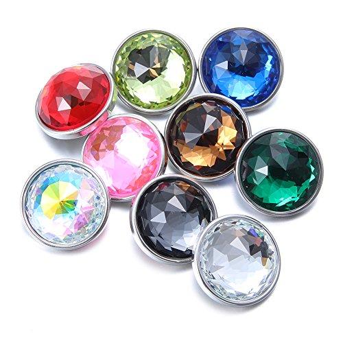 Soleebee 9 pcs Bouton Pression en verre de cristal Bijoux Charms de 18mm