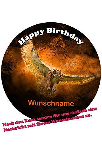 Eule +Wunschname Tortenbild Geburtstag Fondant Zuckerpapier 5014