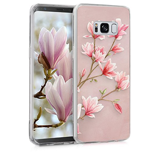 kwmobile Hülle kompatibel mit Samsung Galaxy S8 - Handyhülle - Handy Case Magnolien Rosa Weiß Altrosa