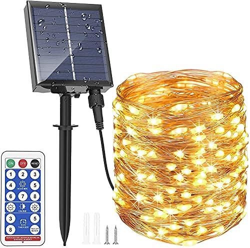 Solar LED Lichterkette Außen, Upgraded 30M 300LEDs Solarleuchte mit 8 Modi, Fernbedienung und Timer, Warmweiße Beleuchtung Wasserdicht IP65 für Garten Party Balkon Baum Sommer und Hochzeit