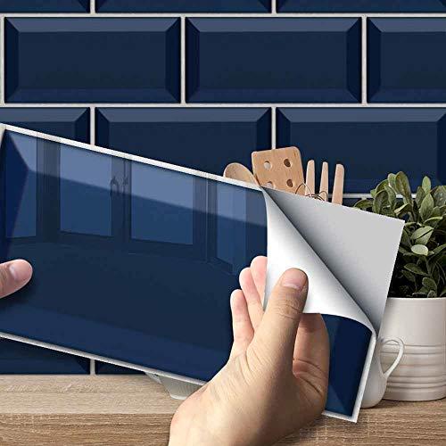 Hiser Adhesivos Decorativos para Azulejos Pegatinas para Baldosas del Baño/Cocina Serie de Piedras Preciosas de Color sólido 3D Resistente al Agua Pegatina de Pared (Azul Marino,54 Piezas)