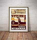 guyfam Vintage Poster Myanmar Yangon - Monk Walking - Fine