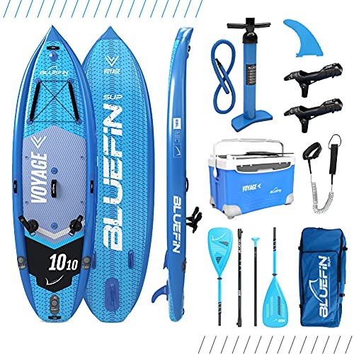 Paddle surf SUP VOYAGE de Bluefin | Tabla de Paddle Surf hinchable 10'10 | Estabilizadores Integrados | Plataforma Extra Ancha | 15cm de Espesor | Remo de Fibra de Vidrio I 5 Años de Garantía
