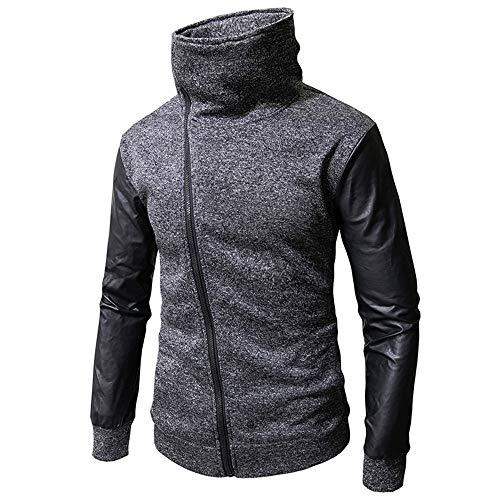 ZODOF Chaqueta de Hombres Casual otoño Invierno Cremallera de Cuero Patchwork Outwear Tops Blusa de la Capa M-3XL