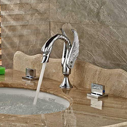 Grifo de lavabo de 3 orificios de estilo cisne de cromo pulido Grifo mezclador de lavabo de lavabo de doble manija para montaje en cubierta