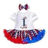 YWLINK Bebé NiñA Verano De Manga Corta + DíA De La Independencia Vestido De Fiesta Vestido De Princesa Vestido De Princesa + Diadema