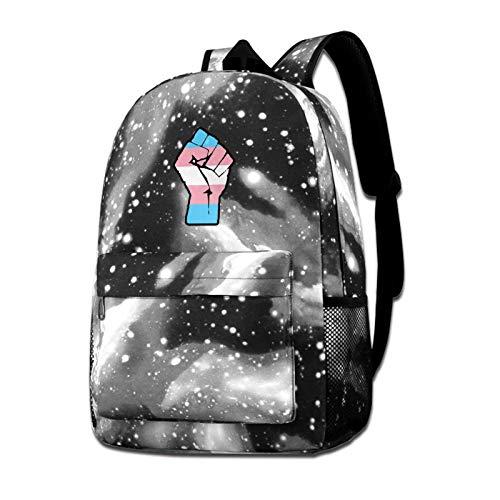 Raised Fist Transgender Flag Galaxy Shoulder Bags Starry Sky Backpack School Daypack Bookbag Boys Girls Outdoor