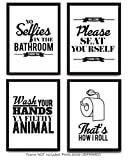 Funny Bathroom Decor Typography Prints (Unframed) Wall Art & Pictures | Great Gift Set of 4 Quotes, Signs & Rules (8x10)