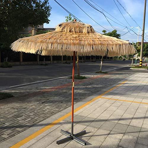 Parasol WYZQQ Square Beach Hawaiian Rieten Paraplu, 1,8 * 1,8 m Hula Turkse Tiki Paraplu, Art Style, Houten Paraplu Outdoor Paraplu's, Geschikt voor Stranden, Feesten, Tuindecoraties, Etc.
