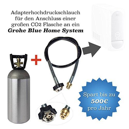 Spar-Set: CO2 Adapter-Hochdruckschlauch 1,0m + 2kg Eigentumsflasche CO2 geeignet für Wassersprudler Grohe Blue Home CO2 Schlauch umfüllen