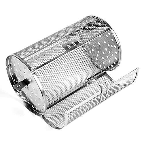 XZJJZ Horno de Acero Inoxidable Cesta de asado y Barbacoa Clip/asador Cesta de la Parrilla para Hornear Tuercas rotativas de Frijoles Cesta de Cacahuetes BBQ Grill Bakeware (Size : White)