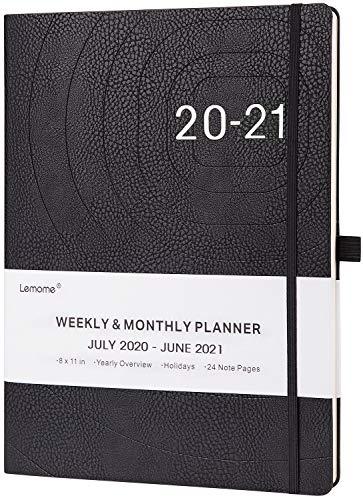 Planer 2020 - A4 Wochenplaner Agenda mit Lederbezug, Stiftschlaufe, Dickes Papier, Innentasche, 210x297mm, Schwarz