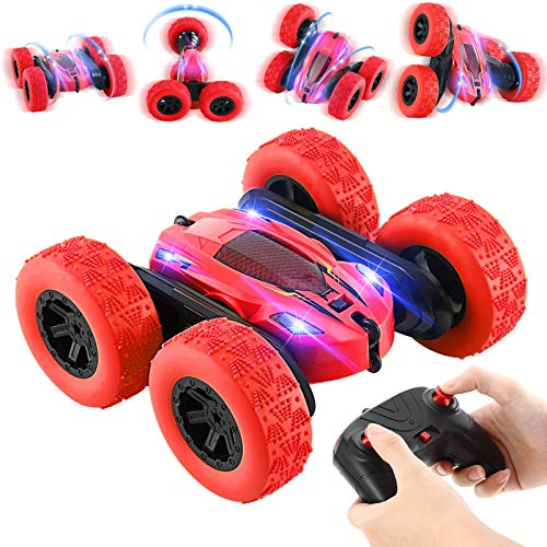 Ferngesteuertes Auto 4WD RC Stunt Auto 2,4 Ghz Fernbedienung mit Akkus High Speed Buggy Auto Spielzeug Outdoor und Indoor für Jungen Mädchen (rot)