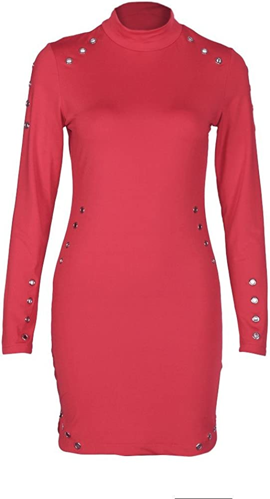 Inforin Women Long Sleeve High-Necked Dress,Sexy Package Hip Slim Clothing