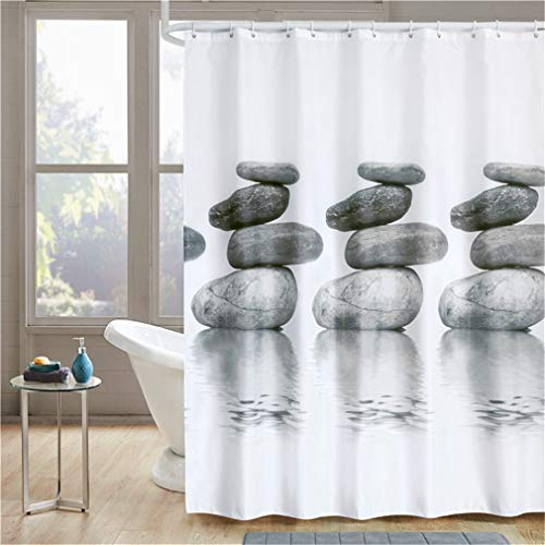 YISHU Cortina de ducha impermeable, antimoho, incluye 12 anillas, para cuarto de baño, piedra, 180 x 200 cm