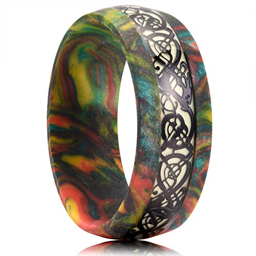King Will 8mm Men's Colored Resin Ring Inlaid Black Celtic Dragon Fluorescence Paper Wedding Bands 11 (Resin Pattern and Color Random)