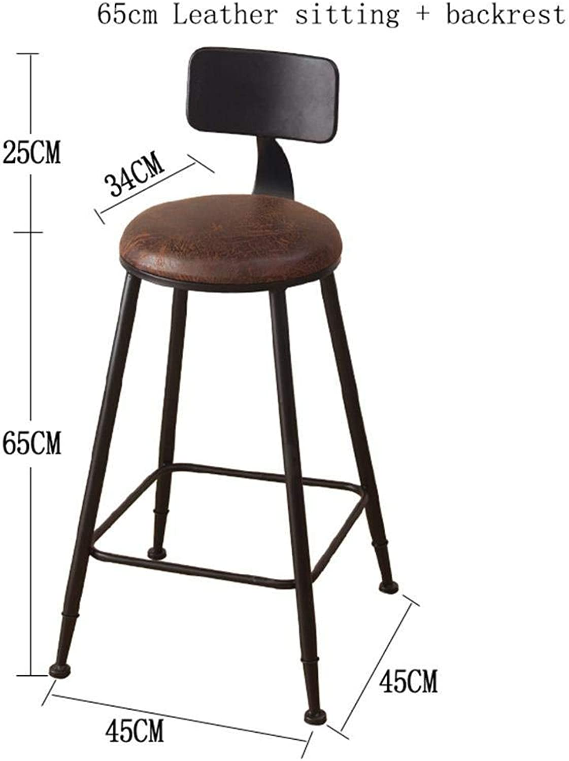 Bar Stool Coffee Chair Retro Kitchen Stools with Metal Legs High Stool Bar Stools Leather Seat Solid Wood Seats Breakfast Bar Chair Dining Chair PU Cushion,90Cm