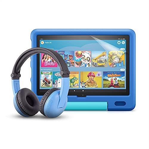 Das neue Fire HD 10 Kids-Tablet (kindgerechte Hülle in Himmelblau) + BuddyPhones PlayTime-Bluetooth-Headset (blau, Altersklasse: 3-7 Jahre) + NuPro-Bildschirmschutzfolie (2er-Pack)