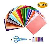 TATAFUN Feltro Colorato Feltro in Fogli 40 Colori 20*30 cm Feltro e Pannolenci per DIY Mestieri per Bambini , con Forbici e Fili Cucito di 21 Colori Feltro