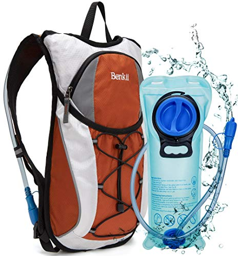 Hydration Backpack with 2L Water Bladder - Lightweight Pack for Running Hiking Riding Camping Cycling Climbing (Orange)