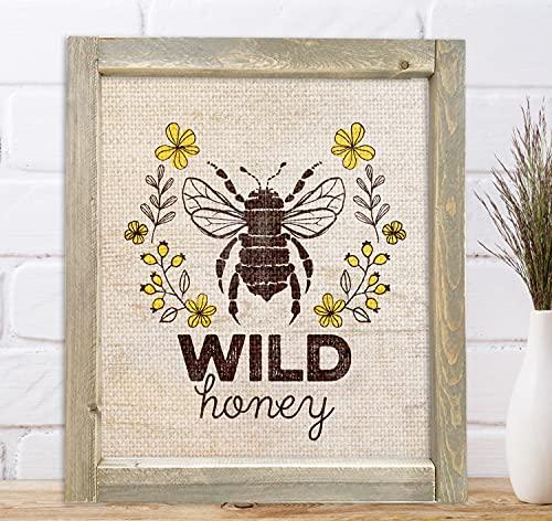 Rustic Wall Art Wood Framed Farmhouse Wilde Honey Bee Sign