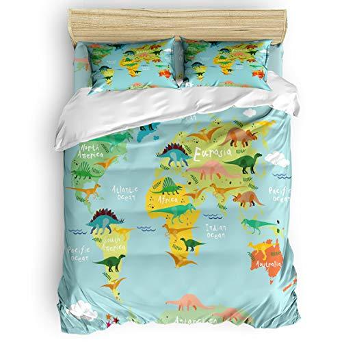 Savannan 4 Piece Full Duvet Cover Set Lightweight Comforter Bedding Set Bedding Cover with Sheet and Pillow Shams, Cartoon Dinosaur Map