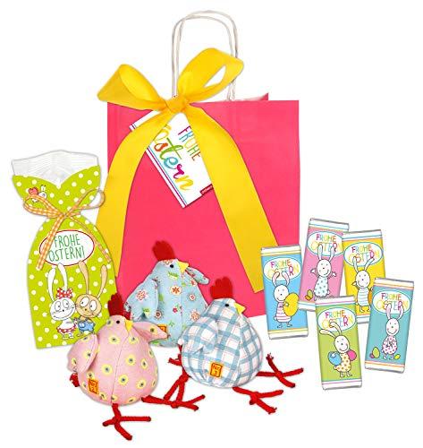 STEINBECK Ostern Geschenk Schokolade süß Stoffhuhn Ostergeschenk Osternest Geschenkset Osterhase Huhn Mitbringsel Geschenktüte