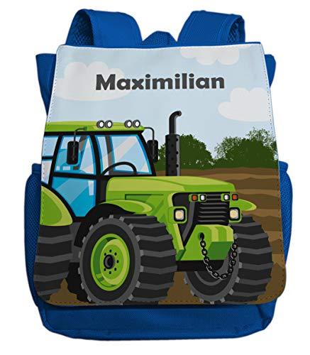 Kindergartenrucksack für Jungen mit Namen | Motiv Traktor Bulldog in grün | Kleiner Kinderrucksack inkl. Wunschname & Brustgurt | passend für Kita- und Kindergartenkinder 2-5 Jahre (Royalblau)