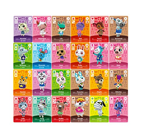 24 pcs Animal Crossing New Horizons ACHN NFC Tag Mini Game Rare Character Villager Cards 24pcs para Switch / Switch Lite / Wii U con caja de almacenamiento de cristal (1.25x0.85x0.05 pulgadas)