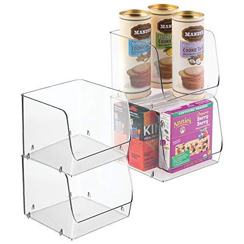 mDesign 4er-Set Aufbewahrungsbox – stapelbar – ideal zur Küchen Ablage, im Küchenschrank oder als Kühlschrankbox – durchsichtig