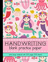 HANDWRITING Blank Practice Paper Extra Large Notebook with 200 Pages (100 Sheets): Sweet Pink Mermaids Cover for Girls in K-4th Grade