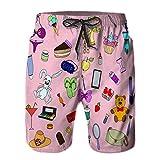 DmiGo Pantalones Cortos De Playa para Hombres,Chica Doodle Set diseño de boceto Dibujado a Mano,Pantalones De Chándal De Secado Rápido, Bañador De Verano para Ejercicios Al Aire Libre M
