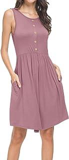 Uniquestyle Robe Ample Femme d'été mi-Longue Bouton Robe Plage sans Manches Col Rond Casual Simple Elegante Chic avec Poche