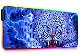 DORRISO RGB Alfombrilla de Ratón Gaming 900x400x4mm XXL LED Alfombrilla de Ratón Extra Grande Superficie Impermeable Base de Goma Antideslizante para Gamers Ordenador PC Laptop Juegos Leopardo Azul