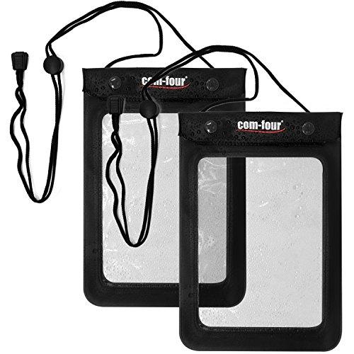 com-four Custodia Protettiva Impermeabile 2X - Custodia Antipolvere per Tablet ed e-Book Reader - Custodia Protettiva in Nero - 9,4  (002 Pezzi Neri - 24x 6.2cm)