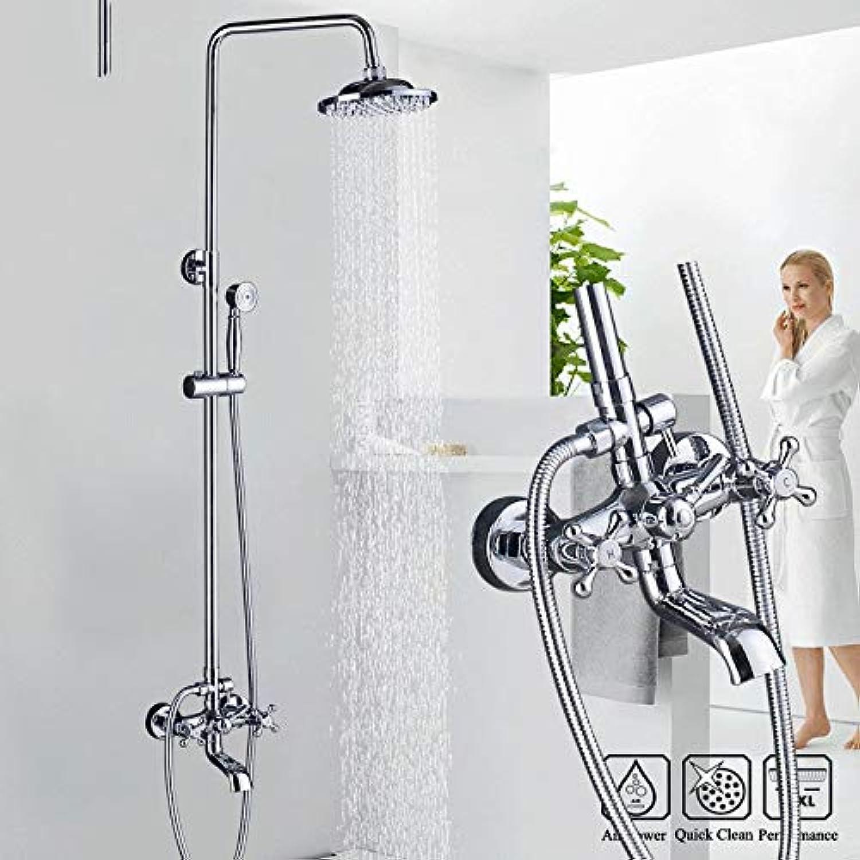 LWSFZAS Bad Dusche Wasserhahn Dual Griff Niederschlag 8 Duschkopf Chrom Wandmontage Bad Dusche Kit mit Handbrause Swive Badewanne Auslauf